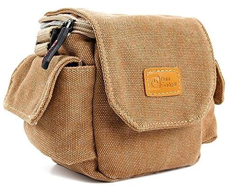 Etui avec bandoulière pour appareil photo Panasonic Lumix DMC-TZ60, FT30, TZ57, TZ70, SZ10, GF7, XS1 - style vintage couleur beige/sable -