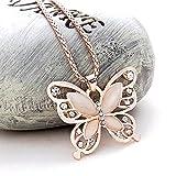 lamax Rose Gold Pullover Kette Schmetterling Halskette weiblich Lange Jewelry