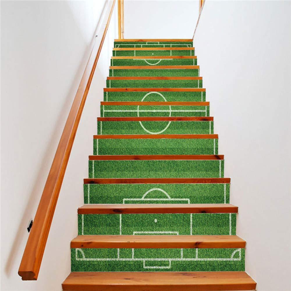 Adesivi Murali Per Scale.Stair Stickers 13pcs Set Scale Adesivi Murali Decalcomanie Rimovibili Autoadesivo Campo Di Calcio Pvc Impermeabile Scale Carta Da Parati Per