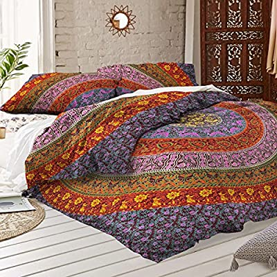Multi Color Mandala Duvet Doona Cover Throw Handmade Cotton Bedding Doona Cover Indian Duvet Covers Set Single Size