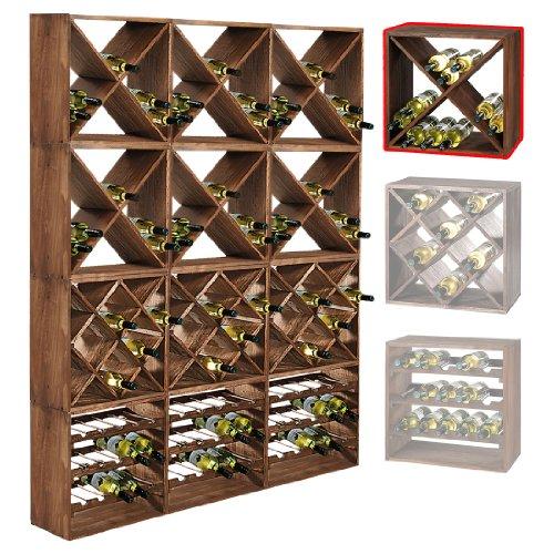 Weinregal / Flaschenregal System CUBE 50, Modul 1 ?X? für 24 Fl., Holz Fichte, tobacco, stapelbar / erweiterbar ? H 50 x B 50 x T 25 cm