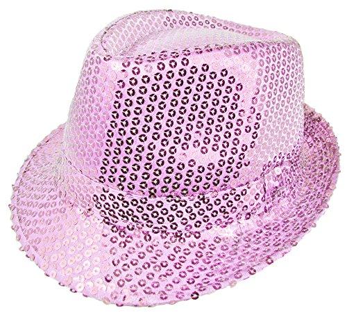 Das Kostümland Glitzernder Popstar Hut mit Pailletten - Rosa - Partyhut zum Show, Disco und Faschingskostüm