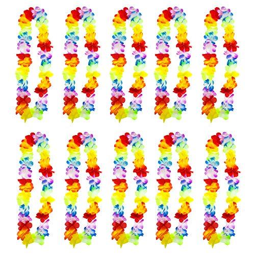 Trixes 10 Stück Hawaiianische Leis Blumenketten - Aloha Hawaii Luau - Tropische Blumenkette - Perfekte Begrüßung bei Ihrer Beach-, Pool- und Cocktailparty (Hawaii-dekorationen Partys Für)