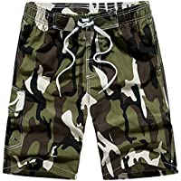 LITTHING Men Military Style Casual Camo Shorts Men\'s Summer Streetwear Elastic Waist Beach Shorts
