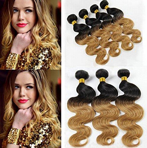Nouvelle Arrivee! 16''18''20'' Longueur Mixte Tissage Bresiliens Ondules Body Waves-Cheveux Vierges 3 Bundles 300g, Couleur#1b/27