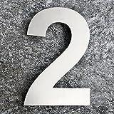 QT Moderne Hausnummer - EXTRA GROß 25.4 Zentimeter - Gebürsteter Edelstahl (Nummer 2 Zwei), Schwimmendes Aussehen, Einfache Installation und aus massivem hergestellt 304 (Number - 2)