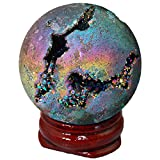 Shanxing Crystal Agate Geode Specimen,Titanium Coated Rainbow Sphere Ball with Wooden Stand Reiki Healing