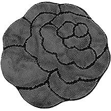 Alfombra/Alfombrilla corte forma flor anti-deslizante (3 Colores) (80cm x 80cm/Gris/Negro)