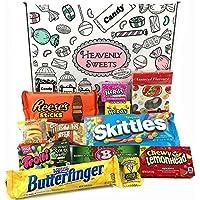 Mini caja de American Candy | Caja de caramelos y Chucherias Americanas | Surtido de 12 artículos incluido Reeses Jelly Belly Skittles | Golosinas para Navidad Reyes o para regalo