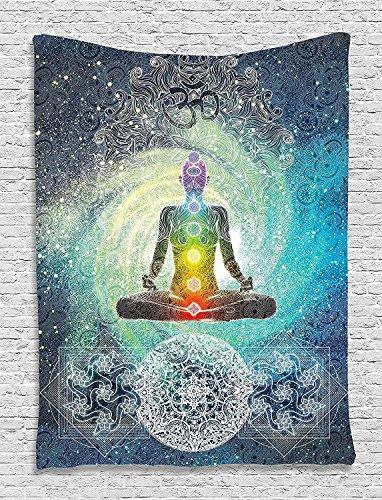 QEES - Tapiz de yoga indio con diseño de mandala hippie y meditación de zen, estilo hippie, geometría sagrada con signo de chakra para decoración de baño con ganchos GT37