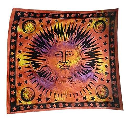 Rideau De Magie Noir - Couverture Tenture indienne Soleil Demi-lune rouge 230x210cm