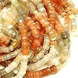 #6: Goyal Impex 1 Strand Natural Multi Moonstone Gemstone Plain Smooth Tyre Shape Beads 13