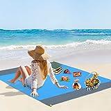 Vegena Picknickdecke Wasserdicht 210 x 200 cm, Stranddecke Sandfrei Matte mit 4 Pfosten und Tasche, Ultraleicht Kompakt Sanda