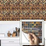Wallpaperpvcceramic Fliese, wasserdichtes Badezimmer, Mosaik, mehrfarbige selbstklebende Tapete Wallboard 20 * 20cm (10Pcs)