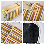 Supertrip Extra Large Picknickdecke wasserdichte sanddichte Fleece Picknickdecken Campingdecken Stranddecke mit Tragegurt Farbe Orange Streifen -