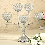 VINCIGANT Crystal Candle Holders Silver Candelabras 5 Arm for Wedding Table Centrepieces Christmas Decoration Candlesticks Holders