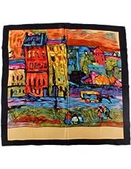 Nella-Mode künstlerisches SEIDENTUCH Seidenschal Schal Tuch 100% Seide Kunstdruck 85x85 cm