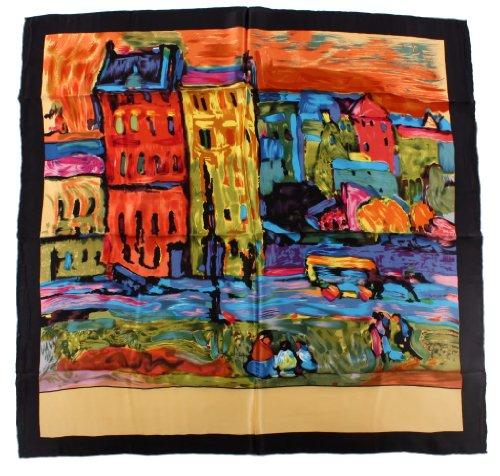 Nella-Mode künstlerisches SEIDENTUCH Seidenschal Schal Tuch 100% Seide Kunstdruck 85x85 cm -