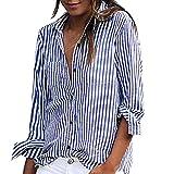 KEERADS Damen Bluse Langarm Gestreift Elegant Button-Down V-Ausschnitt mit Knöpfen Hemdbluse Tunika Oberteile Tops (XL,Blau)