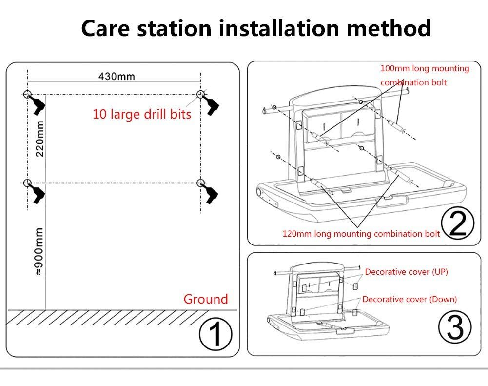 Wall Mounted Infant Changing Station Horizontal Folding, Nursery Organizer Diaper Table with Safety Straps (Gray) GUYUE Thick antibacterial HOPE / high density polyethylene materia, safe and non-toxic, reducing cross-contamination, effective anti-static. Compliance: Hydraulic jack design, safe controlled opening and closing. Size- As shown, 86x58x49cm(1cm=0.39 inch) Suitable for babies weighing less than 35kg. 9