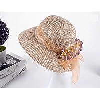 JYJSYM Señoras Sombrero de Verano Vestido de Verano, sombrilla, Sombrero, Protector Solar, Sombrero de Visera Casco de Ocio al Aire Libre, Playa de Verano Turismo,Light Brown