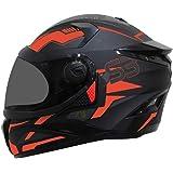 Steelbird SBH-17 Terminator Full Face Graphic Helmet (Large 600 MM, Matt Black Fluo Red with Smoke Visor)