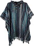 Guru-Shop Poncho Hippie Chic, Andenponcho, Herren/Damen, Blau, Baumwolle, Size:One Size, Jacken, Ponchos Alternative Bekleidung