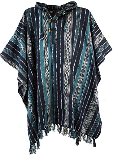 Guru-Shop Poncho Hippie Chic, Andenponcho, Herren/Damen, Blau, Baumwolle, Size:One Size, Strickjacken, Ponchos Alternative Bekleidung