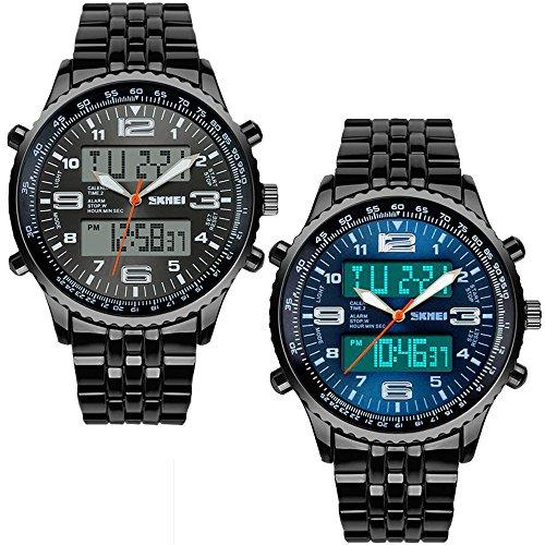 Sunjas Armbanduhr Sportuhren 30 Meter wasserdicht Militär zifferblatt Uhr Digital LED Alarm Kalender Uhren Watches für Herren Männer Damen Frauen Jungen