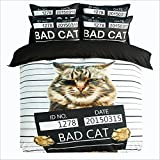 FJLOVE Wrinkle Free Soft 4 Pieces Bedding Sets 3D Bad Cat Pattern With 1 Bed Sheet, 1 Duvet Cover And 2 Pillowcases Polyester Fiber Bedspreads Kits, King 220X240cm