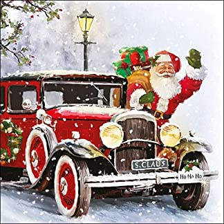 4 servilletas de papel para decoupage – 3 capas, 33 x 33 cm – Navidad – Papá Noel Automóvil (4 servilletas individuales para manualidades y arte de servilletas)