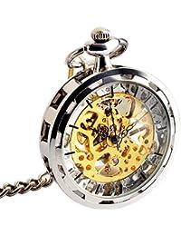 ManChDa® Vintage Abierto de la cara Reloj de bolsillo mecánico Steampunk Esfera esqueleto Viento de la mano Delicado movimiento Visible para los hombres Mujeres con cadena + Caja regalo