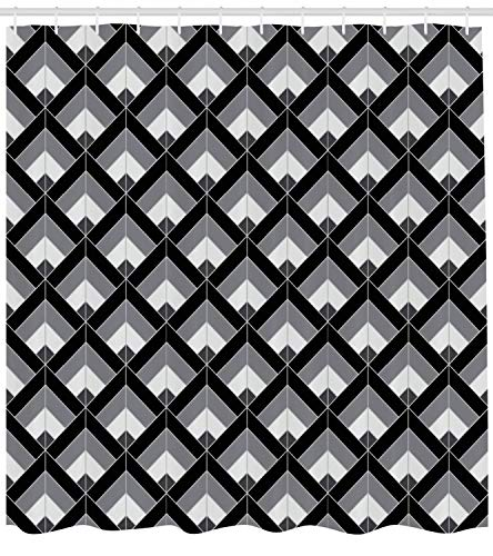 GONIESA Grey and Black Shower Curtain, Bohemian Pattern with Triangles Vertical Lines Repeating Motifs, Cloth Fabric Bathroom Decor Set with Hooks, 60 * 72inch Extra Long, Grey Black Pale Grey -