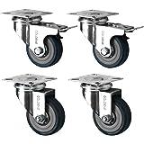 4 Swivel Heavy Duty GREY RUBBER 50mm (2 inch) Castor / Caster Wheels (2 x sta...