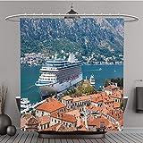 Duschvorhang 299920436Old Harbor und Golf von Kotor aus Polyester-vor-Bad Vorhang