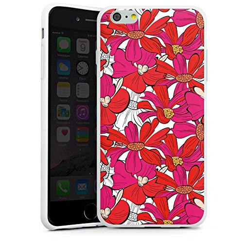 Apple iPhone X Silikon Hülle Case Schutzhülle Blumen Muster zeichnung Silikon Case weiß