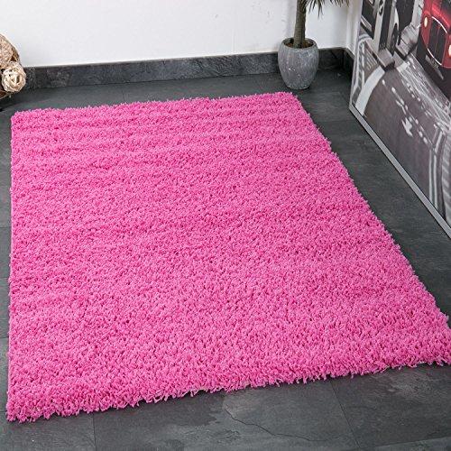 VIMODA prime1000 Shaggy Hoch-/Langflor Teppich, Modern für Wohn-/Schlafzimmer, Polypropylen, Rund, rosa, Durchmesser 80 cm
