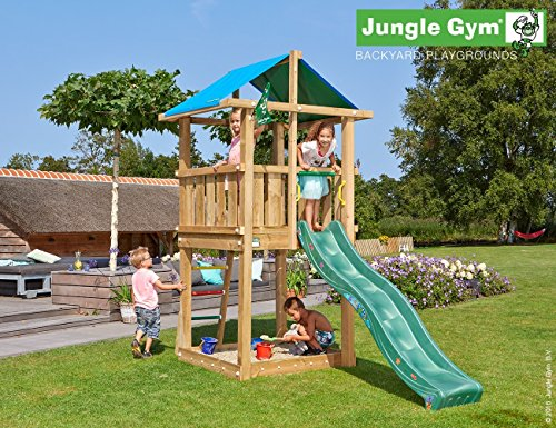 Gym Hut (JUNGLE GYM Spielturm Jungle HUT mit Wellen-Rutsche, Komplettbausatz)