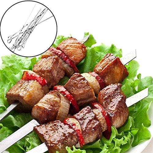 10Pcs BBQ Spieße, Upxiang Grill-Sticks Edelstahl Braten Kochen Grill Kebabs (10pcs/Silber) (Grill Fahne)