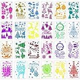 24 Stück Weihnachtsschablonen Schablonen Bastelvorlage Weihnachtsbäume Rentier Stiefel Engel Schneeflocken Schablonen Set für Journaling, Scrapbooking, DIY Karten Herstellung