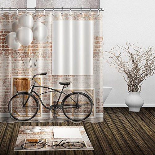 Duschvorhänge , Bike Duschvorhänge Für Jungen Mädchen Badezimmer Form Beweis Beständig Hochwertigem Polyester Material Gedruckt Verdickt Wasserdicht - Liner Dusche Vorhang Klar