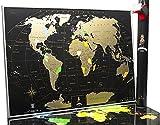 Schwarze Rubbel Weltkarte - Hochwertige Qualität - Rubbelweltkarte Deluxe Edition - Weltkarte zum frei rubbeln - Weltkarte zum Freirubbeln - Rubbelkarte - Landkarte (gold)