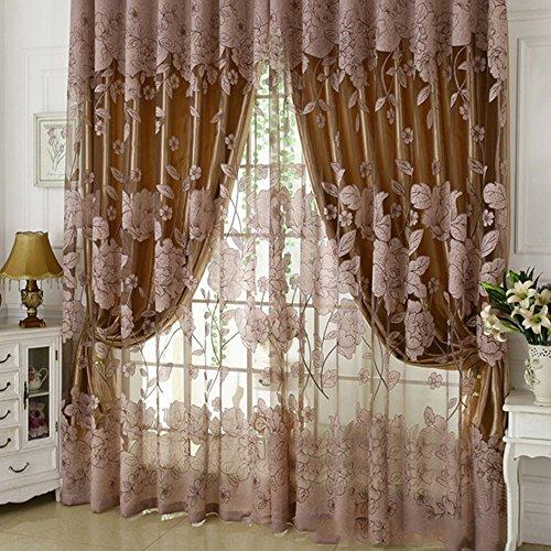 Tende trasparenti ricamate fiori foglie tende finestre per camera da letto soggiorno salotto tendaggio ricamato 270cm (cammello)