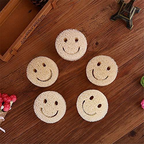 xuanyang524 Natural Loofah Sponge Scrubber für Haushalt & Küche - Reinigungsschwamm für Smiley-Schwämme mit Smiley-Design - Packung mit 20 Stück Cute -