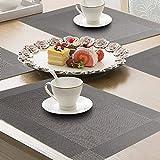 Pretty Decor Famibay Grau Platzdeckchen und Tischläufer Abwaschbar Plastik Platzsets und Untersetzer (Set of 6 Place mats and Table Runner 180cm) - 6