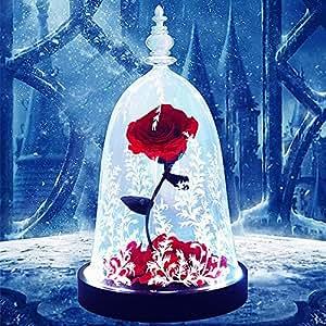 Cupola di Rose per sempre fiore rosa incantata Glass Rose regalo di compleanno per la ragazza con luce a led in una cupola di vetro su base di legno rosso,Red Rose