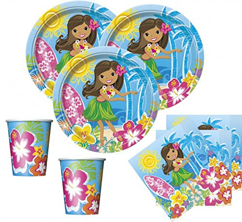 48-teiliges Hawaii Party Deko Set, Hula Beach für 16 Personen