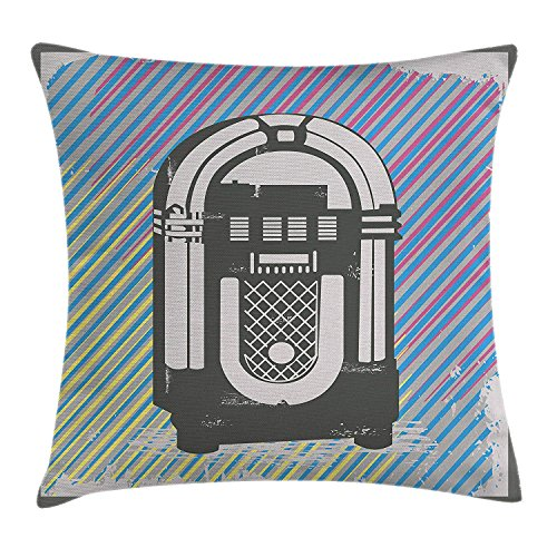 w Pillow Cushion Cover, Radio Party Dark Grey Vintage Music Box with Abstract Grunge Colorful Stripes Image, Decorative Square Accent Pillow Case, 18 X 18 Inches, Multicolor ()