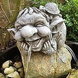 Steinfigur Wasserspeier Troll Gartenfiguren für Garten Deko Teich Fantasiefigur