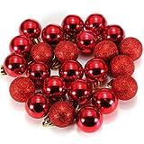 Bola de adorno - SODIAL(R) 24 piezas XMAS bolas brillas elegantes de adorno de decoracion de arbol chucherias de Navidad de color rojo